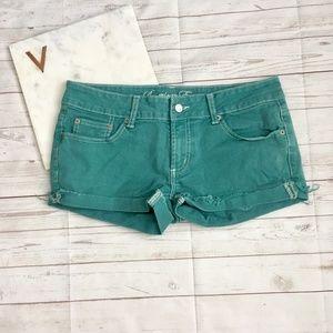 american eagle womens 6 green denim shorts colored